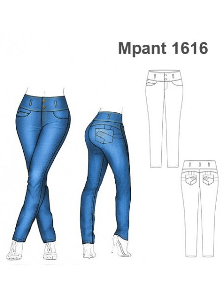 Molde Pantalon Jeans Mujer 1616