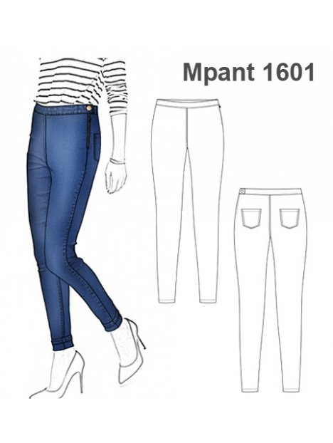 Molde Pantalon Tiro Alto Mujer 1601